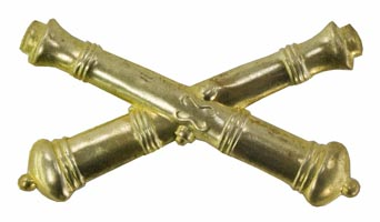 Style: 591 Artillery Officers Cannon Brass Insignia